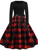 Χαμηλού Κόστους Επαγγελματικά Φορέματα-Γυναικεία Γραμμή Α Φόρεμα - Καρό Ως το Γόνατο