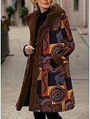 olcso Női hosszú kabátok és parkák-Női Virágos Hosszú Anorák, Poliészter Sárga / Rubin L / XL / XXL
