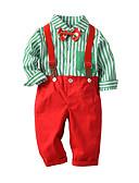 povoljno Kompletići za Za dječake bebe-Dijete Dječaci Boho Prugasti uzorak / Božić Dugih rukava Duga Dug Pamuk Komplet odjeće Vojska Green / Dijete koje je tek prohodalo