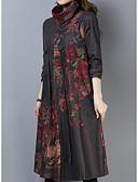 olcso Női ruhák-Női Egyenes Ruha - Nyomtatott, Mértani Midi
