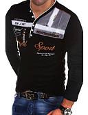 ราคาถูก เสื้อยืดและเสื้อกล้ามผู้ชาย-สำหรับผู้ชาย เสื้อเชิร์ต คอวี เพรียวบาง ลายตัวอักษร สีดำ