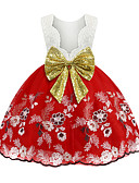 olcso Lány fürdőruhák-Gyerekek Lány Vintage Egyszínű Karácsony Nyitott hátú Flitter Csokor Ujjatlan Térdig érő Ruha Arcpír rózsaszín