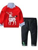 olcso Fiú ruházat-Gyerekek Fiú Alap Fesztivál Nyomtatott Karácsony Hosszú ujj Ruházat szett Rubin