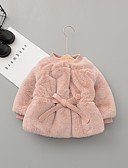 billige Ytterklær til baby-Baby Jente Gatemote Ensfarget Dun- og bomullsfôret Rosa