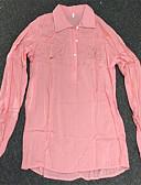povoljno Majica s rukavima-Majica Žene Pamuk Jednobojni Kragna košulje Dusty Rose Navy Plava