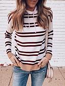 billige Bikinis-Dame Stripet Langermet Pullover Genserjumper, Rullekrage Hvit S / M / L