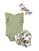 baratos Blusas para Bebês-bebê Para Meninas Boho Sólido Sem Manga Blusa Verde Tropa
