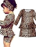 olcso Lány ruhák-Gyerekek Kisgyermek Lány Édes aranyos stílus Egyszínű Hosszú ujj Térd feletti Ruha Khakizöld