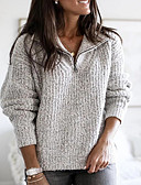 cheap Women's Sweaters-Women's Solid Colored Long Sleeve Plus Size Pullover Sweater Jumper, V Neck Light gray / Blushing Pink / Blue S / M / L