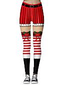olcso Leggingek-Női Karácsony Vékony Leggingek / Melegítőnadrágok Nadrág - 3D nyomtatás Nyomtatott Rubin Lóhere S M L