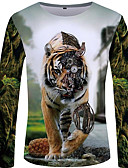 billige Herreskjorter-Rund hals EU / USA størrelse T-skjorte Herre - Fargeblokk / Ensfarget / Dyr Gatemote / overdrevet Hvit / Langermet