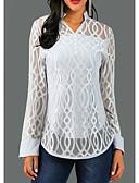billige T-skjorter til damer-V-hals Bluse Dame - Ensfarget / Geometri, Blonde Grå / Vår / Høst