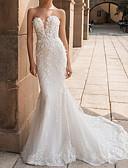 olcso Menyasszonyi ruhák-Sellő fazon Szív-alakú Udvari uszály Csipke Made-to-measure esküvői ruhák val vel Rátétek által LAN TING Express