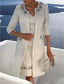 olcso Női ruhák-Női Kétrészes Ruha Egyszínű Térdig érő V-alakú