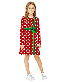 olcso Lány ruhák-Gyerekek Lány Aktív Édes Mikulás Rajzfilm Karácsony Hosszú ujj Térd feletti Ruha Rubin