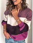 billige Gensere til damer-Dame Stripet Langermet Pullover Genserjumper, Rullekrage Svart / Lilla / Oransje S / M / L