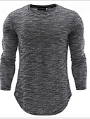 baratos Camisetas & Regatas Masculinas-Homens Camiseta Sólido Preto