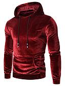 ราคาถูก เสื้อฮู้ดและเสื้อกันหนาว-สำหรับผู้ชาย พื้นฐาน Hoodie สีพื้น