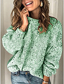 olcso Női pulóverek-Női Egyszínű Hosszú ujj Bő Pulóver Pulóver jumper Tél Világos szürke / Arcpír rózsaszín / Medence S / M / L
