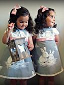 olcso Bébi ruhák-Baba Lány Aktív / Alap Rabbit Nyomtatott Nyomtatott Rövid ujjú Ruha Szürke
