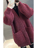 povoljno Prsluci-Žene Jednobojni Dugih rukava Širok kroj Kardigan Džemper od džempera, Ruska kragna Lila-roza / Sive boje One-Size