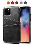 povoljno Zaštitne folije za iPhone-Θήκη Za Apple iPhone 11 / iPhone 11 Pro / iPhone 11 Pro Max Utor za kartice / Otporno na trešnju Stražnja maska Jednobojni PU koža
