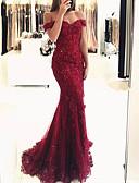 Χαμηλού Κόστους Βραδινά Φορέματα-Τρομπέτα / Γοργόνα Ώμοι Έξω Ουρά Δαντέλα Ανοικτή Πλάτη Επίσημο Βραδινό Φόρεμα 2020 με