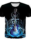 billige T-skjorter og singleter til herrer-T-skjorte Herre - Geometrisk / 3D / Grafisk, Trykt mønster Grunnleggende / Rock Svart
