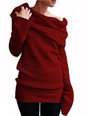 billige Gensere til damer-Dame Ensfarget Langermet Pullover Genserjumper, Løse skuldre Svart / Vin / Oransje S / M / L