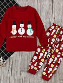 olcso Lány divat-Gyerekek Lány Alap Mértani Karácsony Hosszú ujj Ruházat szett Bor
