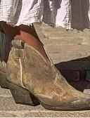 povoljno Ženski džemperi-Žene Čizme Kockasta potpetica Okrugli Toe Brušena koža Čizme gležnjače / do gležnja Jesen zima Crn / Badem / purpurna boja