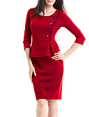 olcso Női ruhák-Női Alap Bodycon Hüvely Ruha Egyszínű Térd feletti