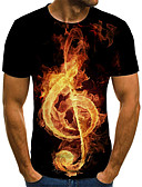 baratos Camisetas & Regatas Masculinas-Homens Camiseta Moda de Rua / Exagerado Pregueado / Estampado, 3D / Gráfico / Letra Vermelho