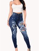 ราคาถูก กางเกงผู้หญิง-สำหรับผู้หญิง พื้นฐาน Jogger กางเกง - สีพื้น ตัดออก สีน้ำเงิน S M L