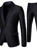 olcso Férfi zakók és öltönyök-Férfi EU / USA méret ruhák, Egyszínű Hasított rever Poliészter Fekete