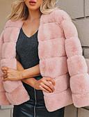 olcso Női szőrme és műszőrme kabátok-Női Napi Alap Tavasz / Tél Szokványos Faux Fur Coat, Egyszínű Gallér nélküli Hosszú ujj Poliészter Fekete / Bíbor / Arcpír rózsaszín