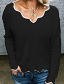povoljno Ženski džemperi-Žene Jednobojni Dugih rukava Širok kroj Pullover Džemper od džempera, V izrez Braon / Sive boje / Žutomrk S / M / L