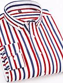 baratos Camisas Masculinas-Homens Camisa Social - Trabalho Negócio / Básico Estampado, Listrado Algodão Colarinho Italiano Delgado Laranja / Manga Longa / Primavera / Outono