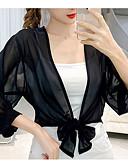 ราคาถูก เสื้อแจ็กเก็ตสำหรับผู้หญิง-สำหรับผู้หญิง ฝึก Street Chic ปกติ แจ๊คเก็ต, สีพื้น คอเสื้อเชิ้ต แขนยาว เส้นใยสังเคราะห์ สีดำ / ขาว / สีกากี