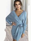 Χαμηλού Κόστους Sweater Dresses-Γυναικεία Κομψό Θήκη Φόρεμα - Μονόχρωμο, Στάμπα Ασύμμετρο