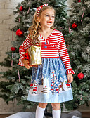 cheap Girls' Dresses-Kids Toddler Girls' Active Sweet Santa Claus Striped Snowflake Christmas Print Long Sleeve Above Knee Dress Red