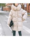 olcso Női hosszú kabátok és parkák-Női Egyszínű Hosszú Kosaras, POLY Fekete / Fehér M / L / XL