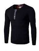 Χαμηλού Κόστους Ανδρικά μπλουζάκια και φανελάκια-Ανδρικά Μεγάλα Μεγέθη T-shirt Μονόχρωμο Στρογγυλή Λαιμόκοψη Μαύρο / Μακρυμάνικο