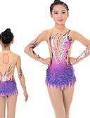 זול חדר כושר-בגדי ריקוד נשים בנות בגדי גוף קצביים להתעמלות בגדי גוף אמנותיים להתעמלות דפוס בלט ריקוד אימון בגד גוף מידות גדולות שרוול ארוך ספורט לבוש אקטיבי עבודת יד גמישות גבוהה