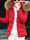 olcso Női hosszú kabátok és parkák-Női Egyszínű Rövid Kosaras, Poliészter Fekete / Fehér / Rubin M / L / XL