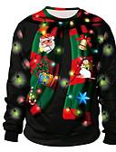 olcso Férfi pólók és pulóverek-Férfi Karácsony Kapucnis felsőrész 3D