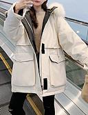 olcso Női hosszú kabátok és parkák-Női Egyszínű Hosszú Pehely, POLY Fekete / Fehér / Medence S / M / L
