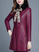 olcso Estélyi ruhák-Női Napi Hosszú Kožnate jakne, Egyszínű Állógallér Hosszú ujj Poliuretán Fekete / Bor
