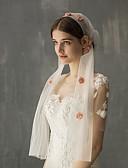 ราคาถูก ม่านสำหรับงานแต่งงาน-ชั้นเดียว สไตล์วินเทจ / หวาน ผ้าคลุมหน้าชุดแต่งงาน Elbow Veils กับ Scattered Bead Floral Motif Style Tulle
