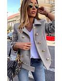 Χαμηλού Κόστους Blazers-Γυναικεία Καθημερινά Κοντό Παλτό, Μονόχρωμο Λαιμόκοψη V Μακρυμάνικο Πολυεστέρας Κρασί / Θαλασσί / Γκρίζο